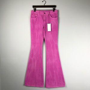 Gucci Pink Stretch Velvet Corduroy Flare Pants